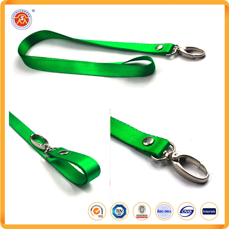 Colorful Blank Flat Woven Nylon Neck Lanyards / Strings with Metal Bulldog Clip Attachment