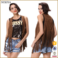 New Designed Wholesale Fringe Hem Sleeveless Summer Suede Jacket Women