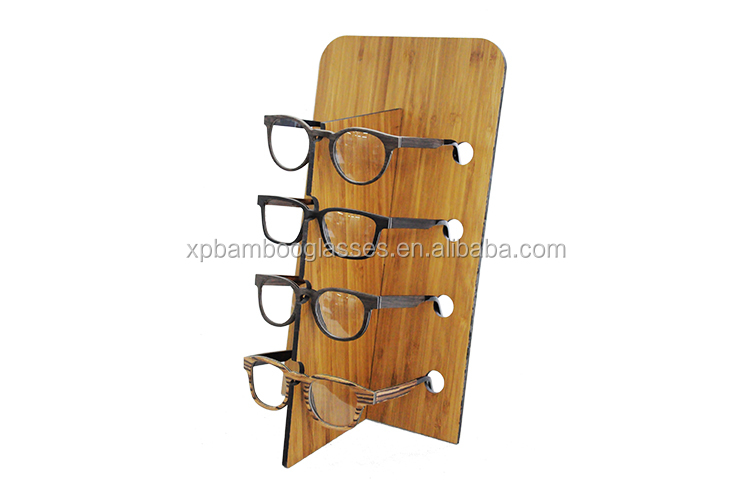 2018 glasses stand wood material exhibitor fashion bamboo sunglasses display