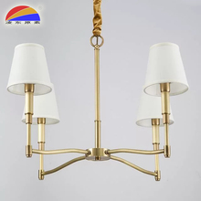 Energy saving or led brass material copper pendant lamp with 4 fabric lampshades