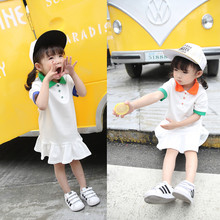 YDA3297korean girl dress lapel collar cotton sports kid dress