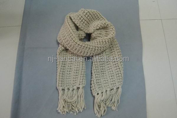Oatmeal Corn Needle Knitted Scarf
