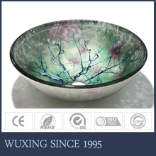 Artistic Surface Handcraft Design Round Counter Tempered Glass Onyx Vessel Sink