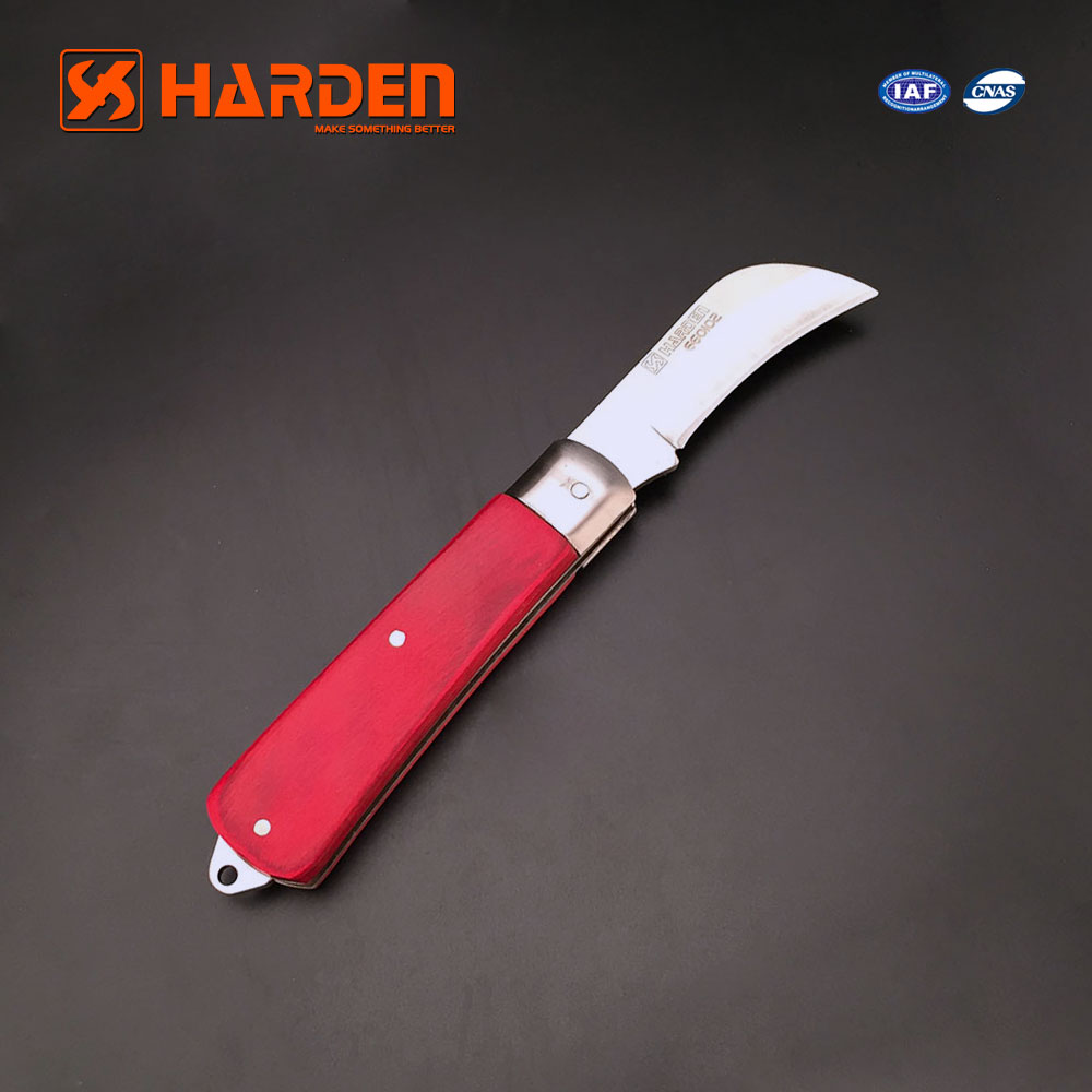 Professional Wooden handle curved blade electrician knife