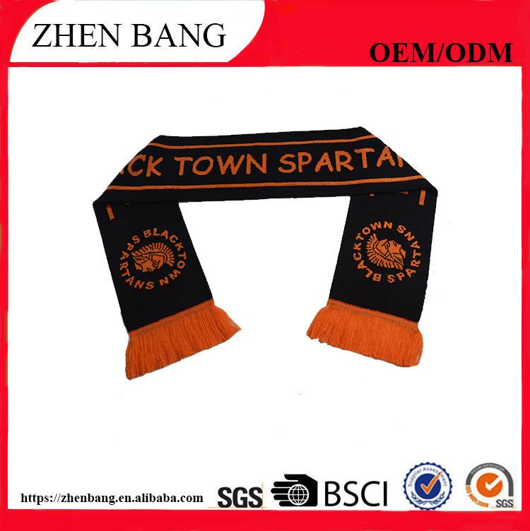 Factory custom Best quality and new style fashion football/soccer knit scarf