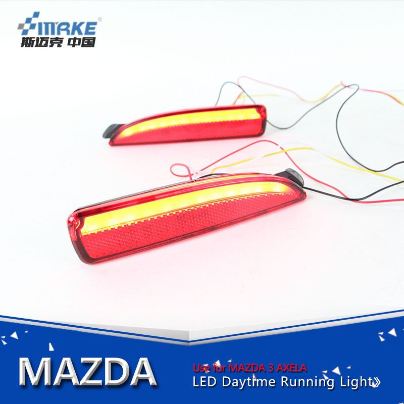 Car styling led rear bumper reflector for mazda 3 axela 2014-2016 led rear bumper light brake light