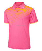 small order pink rib collar custom printing club team and club polo shirt