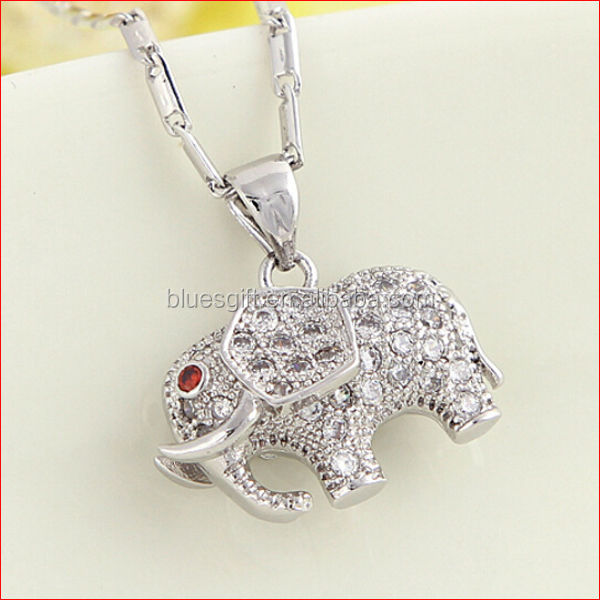 2014 High quality fashion Copper Cubic Zirconia elephant pendant necklace