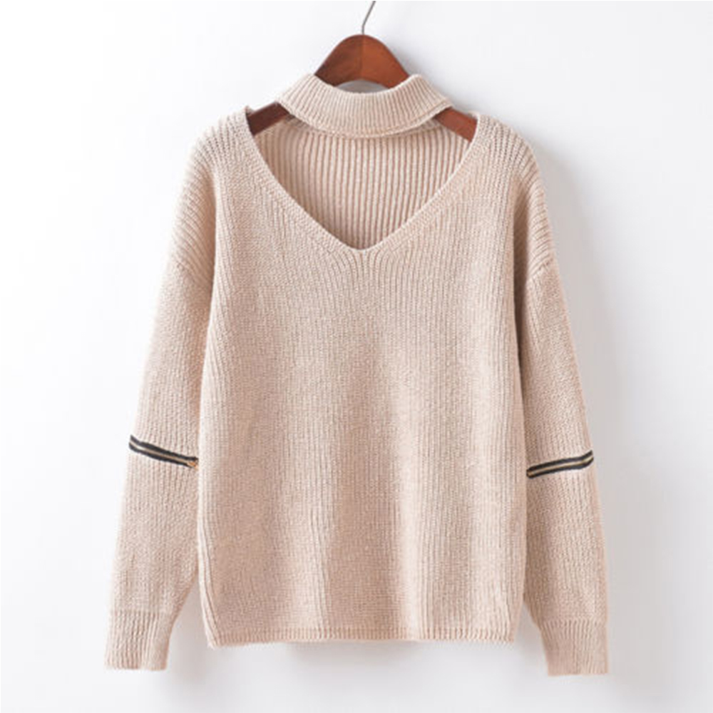OEM wool sweater design for women good quality special choker pullover fancy sweaters for women