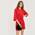 Knot Front Mini Shift Dress Women Mini Dress