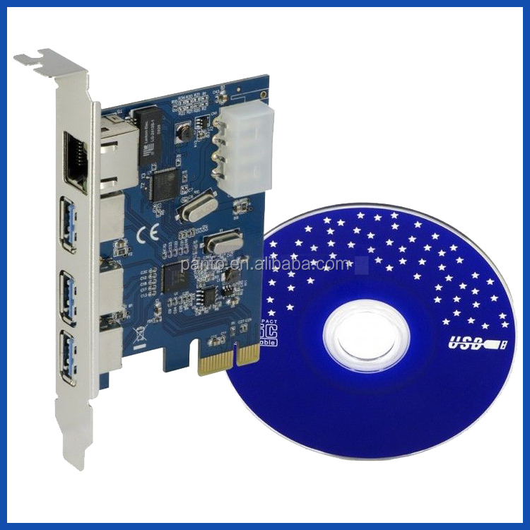 PCI-E RJ45 3x USB3.0 External + Gigabit Network Interface Expansion Card Express