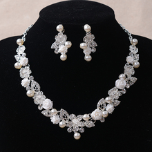 TL159 White Pearl Flower Wedding Jewelry Sets for Brides