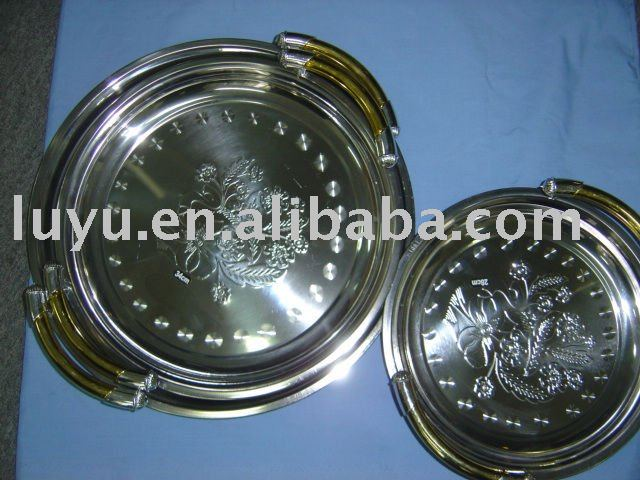 3pcs stainless steel flower tray ,plate, big size dish