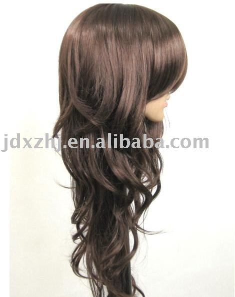 long curls/Oblique Liu/big waves/brown/synthetic wig/fashionable hair