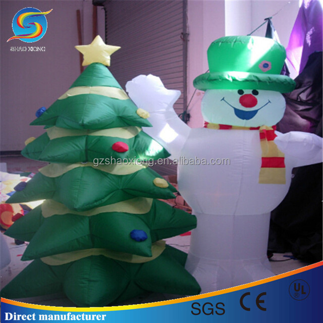 2017 hot selling inflatable christmas decoration of christmas snow man with big tree for gift - Inflatable Gingerbread Man Christmas Decor