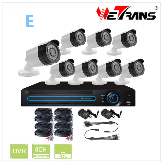 Security Camera System 1080P Full HD P2P AHD DVR 8CH 24 IR LED 20m Night Vision Waterproof Outdoor/Indoor AHD HD KIT-5208D-E