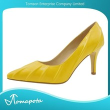 Latest fashion look women pointed toe yellow color high heels pumps shoes