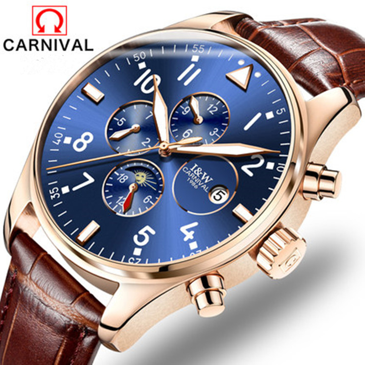 2016 Top 10 Brand Carnival Automatical Mechanical Sapphire Wrist Watch for Men Sapphire Window relogio masculino