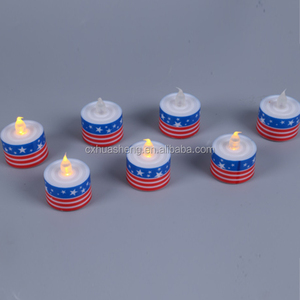 Printing LED Flameless Glitter Candle Light With National Flag , Candle Light