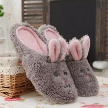 New Design Brown Bear and Gray Rabbit Type Plush Room Slippers