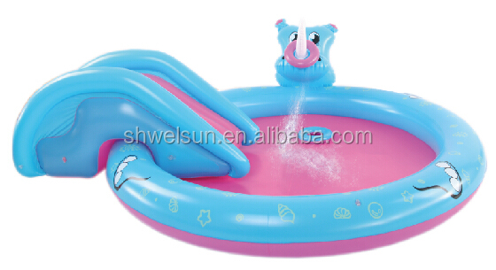 inflatable Rhino Spray pool with slide & ring toss game for kids