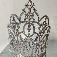 New arrival golden plated bridal wedding crystal metal OEM party supplie lady pageant tiara and crown