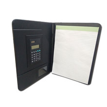 travel carrying PU leather file folder slim art clipboard letter portfolio with casio calculator for man