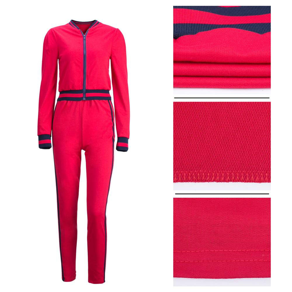 ladies Casual Long Sleeve 2 Pieces Tracksuit Outfits High Waist Pant Romper fitness jumpsuit
