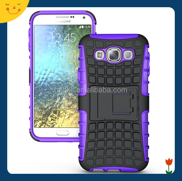 amazon hot sale 2015 China wholesale! hybrid rugged hard case cover for Samsung Galaxy E5 case 2 in1 armor cell phone case