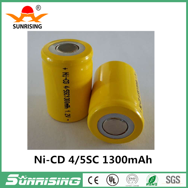 Ni-Cd 4/5 SC Sub C 1.2V 1300mAh Rechargeable Battery yellow Color