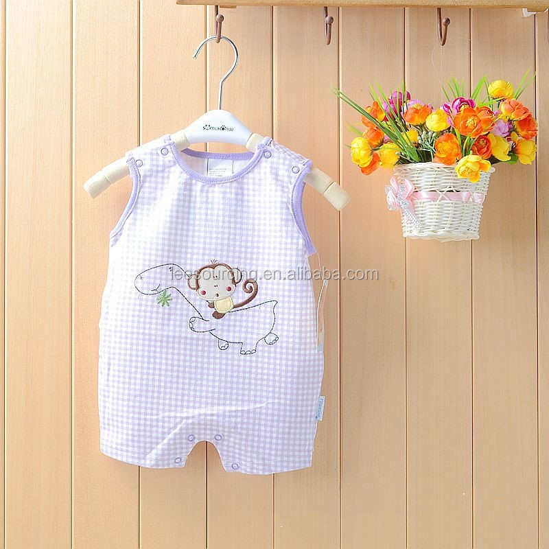 Wholesale monkey printed checked infant and toddler cotton babysuit