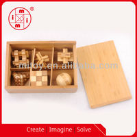 Wooden 6 in 1 Mini puzzle game set 3d puzzle brain teasers