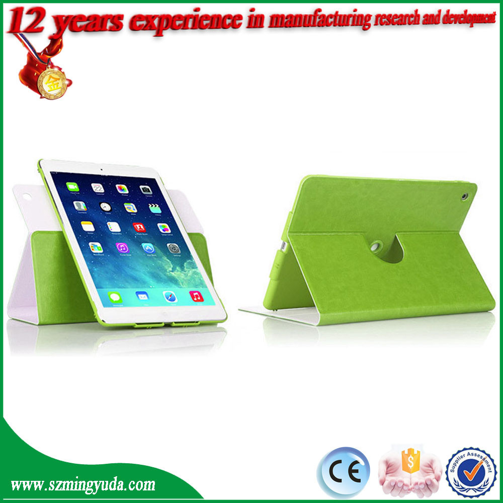 High quality 360 degree rotatable PU leather case for iPad air air2 from china factory