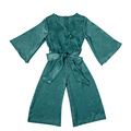 New formal dark green long sleeve bodysuit young girls fashion rompers