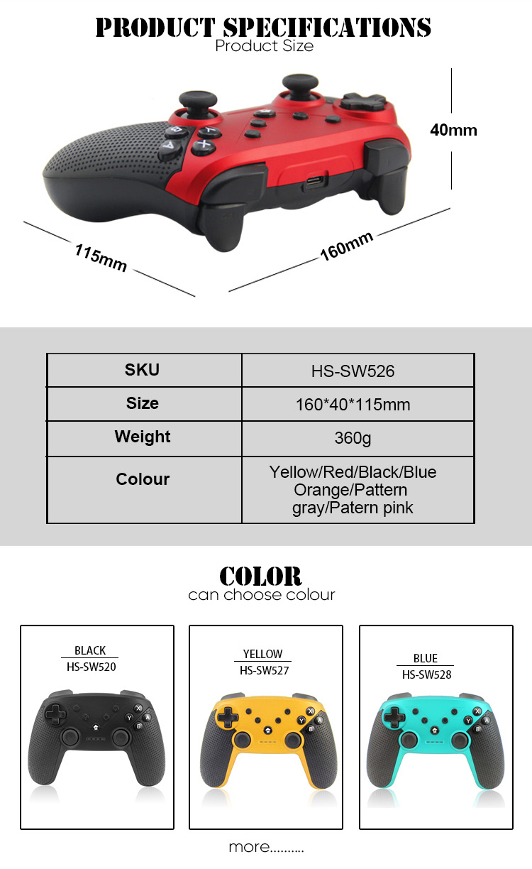 Honson  NFC Function gaming joystick vibration gamepad for Nintend switch pro Game controller
