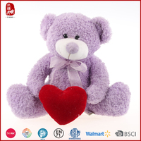 Lovely purple teddy bear with red heart plush toy China manufacture for valentine's day
