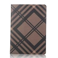High quality Grid patern leather flip case for Apple ipad mini 1/2/3 Stand case cover