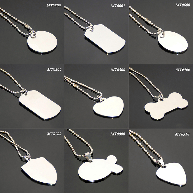 24 Inches 60 CM Ball Chain Brushed Mirror Effect Necklace Silver Metal Blank Simple Variety of <strong>Designs</strong> Wholesale Dog Tag