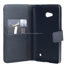 Black wallet leather stand case for Nokia Luimia 640