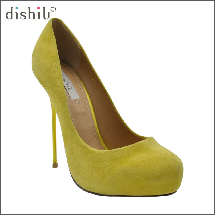 Yellow kid suede Italy top selling new model sexy pointed toe stiletto high heel 2017