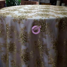 #17970 gold hot seller beaded embroidery cheap sequin table overlay