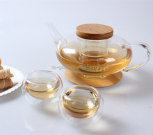 650ML High Quality Bamboo Lid Heat Resistant Borosilicate Glass Teapot with infuser Tea Pot Set