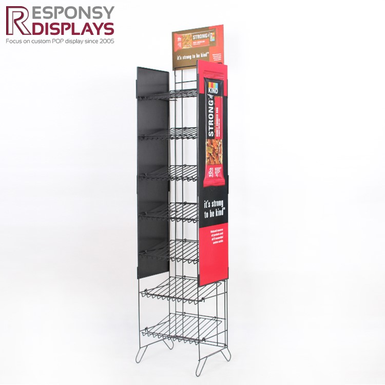 Promotion Seven Layers Floor Standing Food Retail Store Metal Display Stand In Red For Supermarket And Store