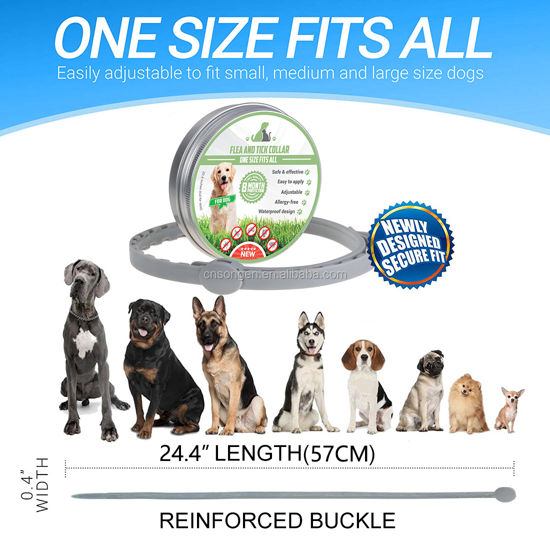 Natural Ingredient 8 Month Protection Flea and Tick Collar For Dogs One Size Fits All
