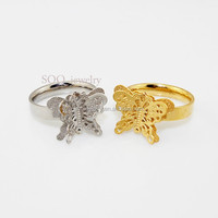 custom hing quality cheap fashion butterfly double ring fancy jewelry for wedding