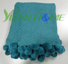China acrylic material solid color throw blanket with pompons (YH8140)