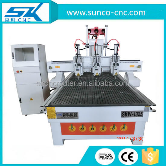 Jinan cnc router 3d cnc woodworking machine with cylinder tool change of senke 1325 with high accuracy