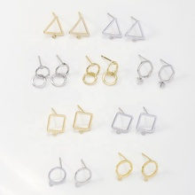 J2771 New Fashion DIY Earring Jewelry Accessories Gold Geometric Round Earring Base Connectors Linkers