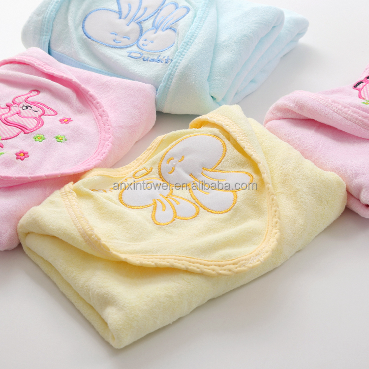 EAswet 100% Cotton Cartoon Rabbit Jacquard Baby Security Blanket,Knitting Baby Christening/blessing Woven Satin Blanket