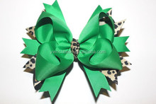 Leopard and Green St. Patrick's Day Hair Bow CB-3327